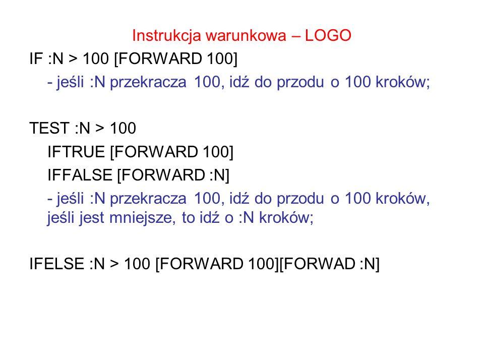 Instrukcja warunkowa – LOGO IF :N > 100 [FORWARD 100] - jeśli :N przekracza 100, idź do przodu o 100 kroków; TEST :N > 100 IFTRUE [FORWARD 100] IFFALSE [FORWARD :N] - jeśli :N przekracza 100, idź do przodu o 100 kroków, jeśli jest mniejsze, to idź o :N kroków; IFELSE :N > 100 [FORWARD 100][FORWAD :N]